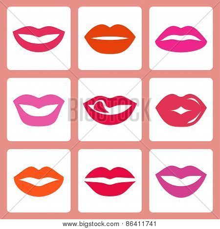 Women's Lips Vector Icon Set