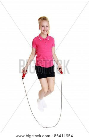 Fun girl jumping rope