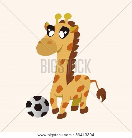 Animal Giraffe Doing Sports Cartoon Theme Elements