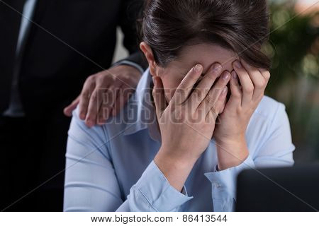 Woman Crying In The Office