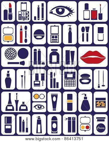 Cosmetics Icons On White