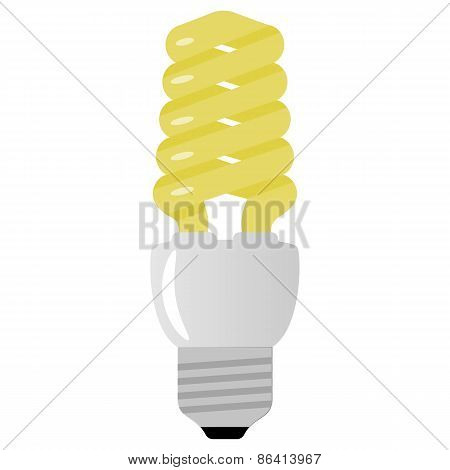 Vector illustration of light bulb on white background