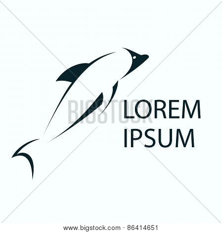 Dolphin abstract logo template. Whale vector design element. Seafood shop, restaurant and cafe logo.
