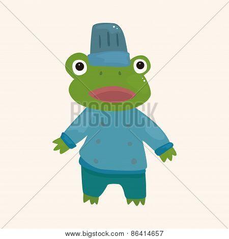 Animal Frog Chef Cartoon Theme Elements