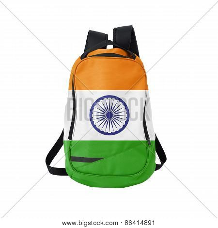 India Flag Backpack Isolated On White