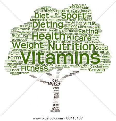 Vector concept or conceptual health or diet green text word clou