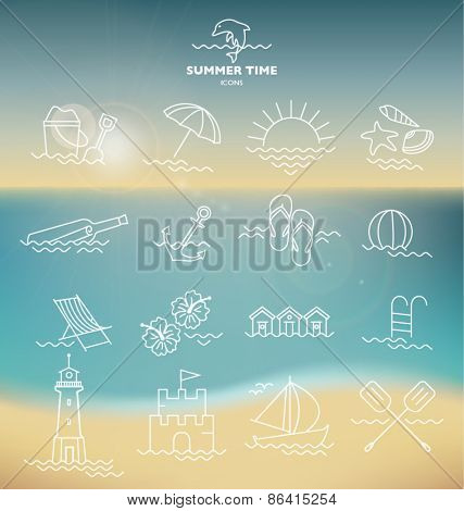 ULTIMATE SUMMER DESIGN ELEMENTS KIT. ICONS SYMBOLS AND BACKGROUND. For your graphic projects, print and internet.