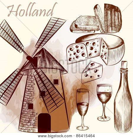 Engraved Background With Mill, Vine, Cheese And Bread