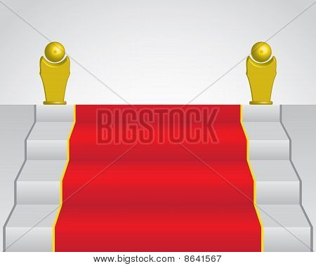Red Carpet And Two Golden Statue