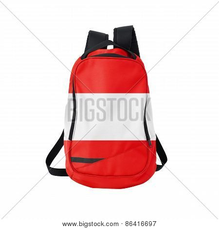 Austria Flag Backpack Isolated On White
