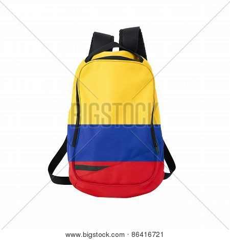Colombia Flag Backpack Isolated On White