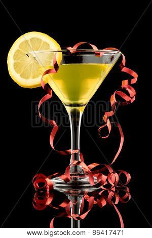 Lemon Martini With Red Streamer