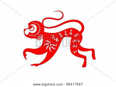 Red paper cut a monkey zodiac symbols