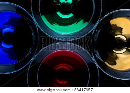 Overhead Shot Of Color Cocktails In Martini Glasses