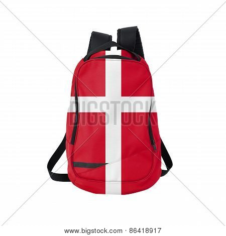 Denmark Flag Backpack Isolated On White