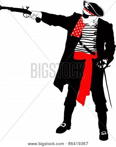 Angry pirate silhouette