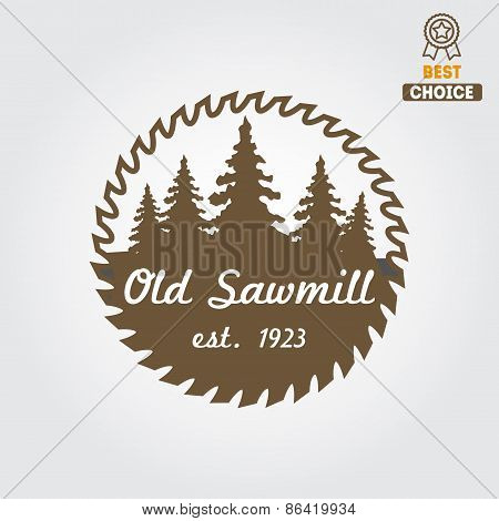 Logo, label, badge for sawmill, carpentry and woodworkers