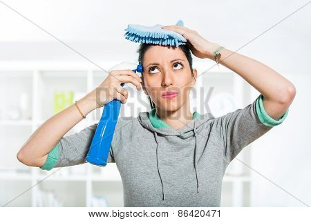 Woman with sprayer and duster in her hand