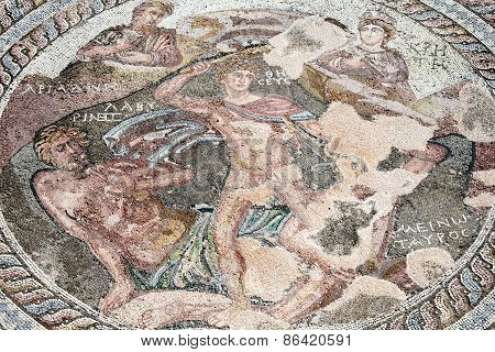 Roman mosaic of Theseus and the Minotaur