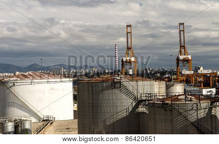 Oil Tanks On The Port