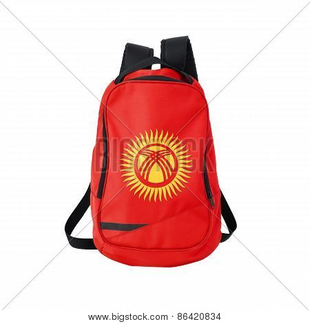 Kyrgyzstan Flag Backpack Isolated On White
