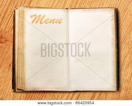 Blank Vintage Menu Book