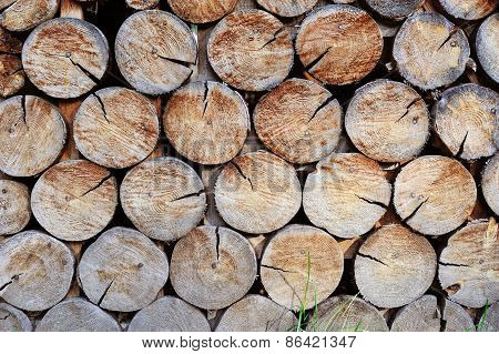 Wall Made Of Stacked Wood. Background