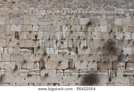 Stones of the Wailing wall, Jerusalem, Israel.