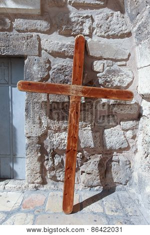 Wooden cross at the Church of the holy Sepulcher, Jerusalem.