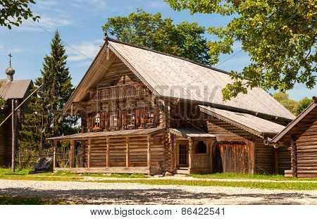 Traditional Russian Old Wooden House In The Ancient Town Of Novgorod, Russia
