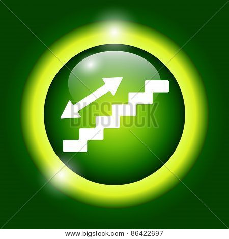 Staircase Symbol On Green Background