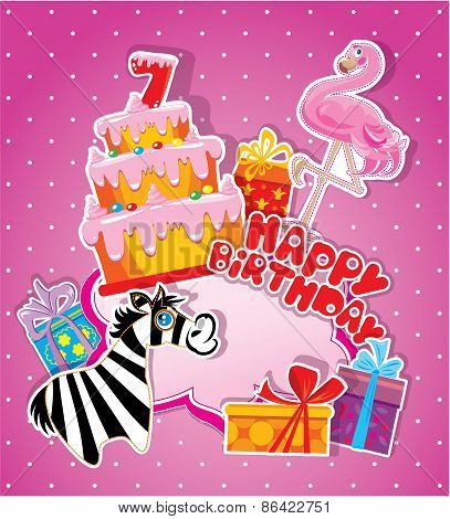 Baby Birthday Card With Flamingo And Zebra, Big Cake And Gift Boxes. Seven Years Anniversary