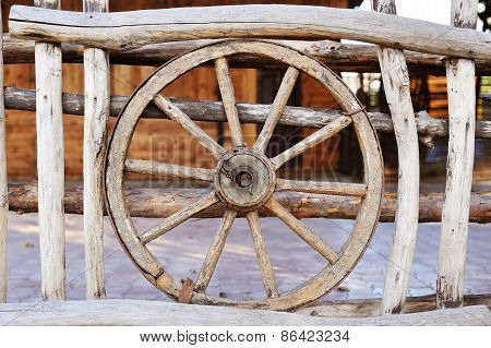 Old Wood Coach Wheel Around Barn