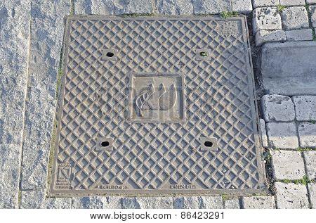 Square manhole. Tbilisi, Georgia