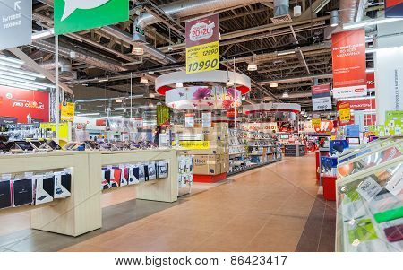 Interior Of The Electronics Shop M-video. Is The Largest Russian Consumer Electronic Retail Chain