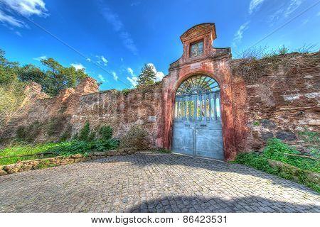 Entrance Sacred Sebastian's Church From Palatin, Rome, Italy - Hdr Image