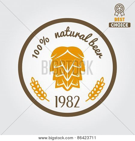 Vintage logo, badge, emblem or logotype design element for beer, beer shop, home brew, tavern, bar,