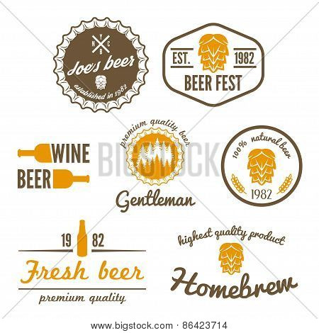 Set of vintage logo, badge, emblem or logotype elements for beer, beer shop, home brew, tavern, bar,