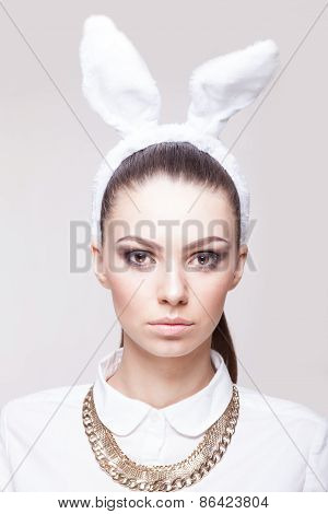 Closeup Portrait Of Beautiful Model In Bunny Costume