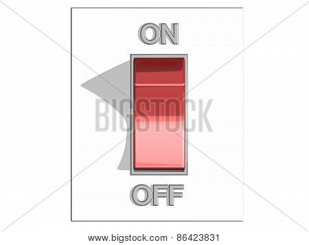 Top view of a red on and off switch in off position