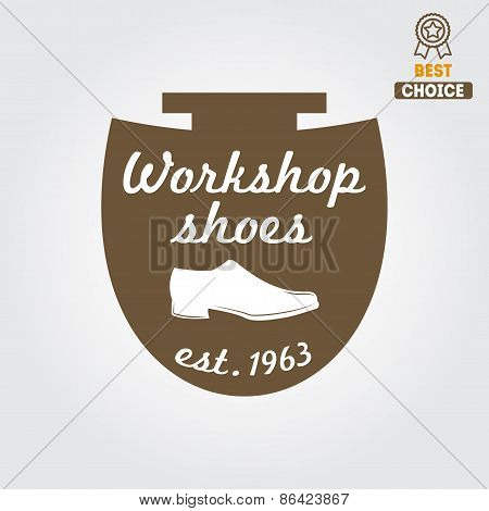 Vintage logo, badge, emblem or logotype elements for shoemaker, shoes shop and shoes repair
