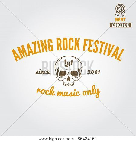 Set of vintage logo, badge, emblem or logotype elements for rock festival, musical performance or gu