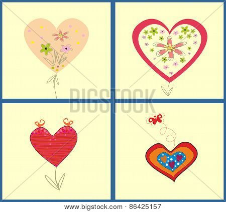 Abstract vector Illustration set of hearts