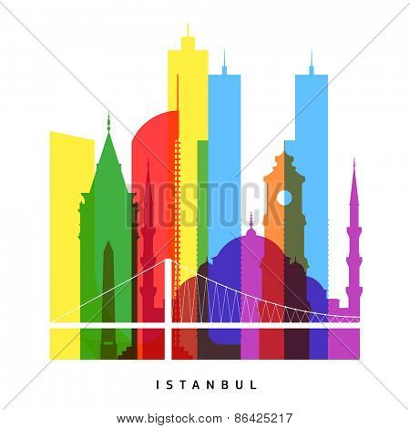 Istanbul landmarks bright collage vector illustration