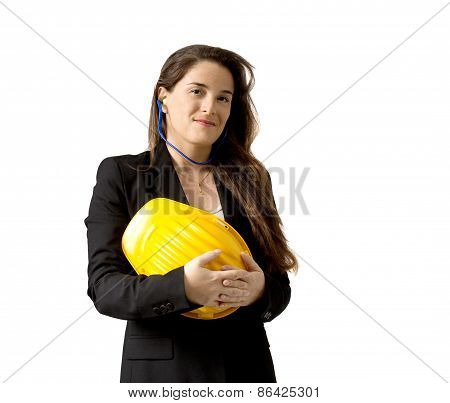 Smiling Female Engineer With Safety Helmet And Earplugs,