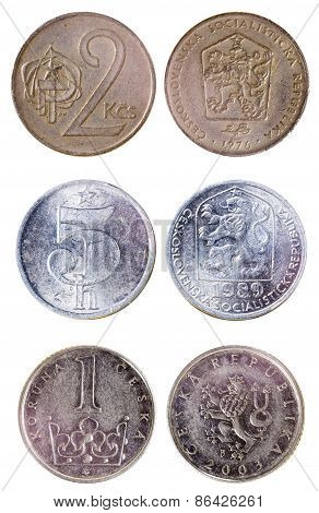 Three Different Old Czech Coins
