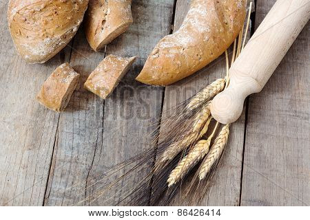 Rye Bread  And Cereal French Bread Over Wood