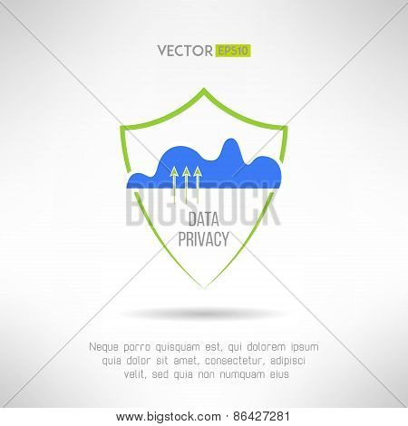 Cloud computing security. Data protection concept. Vector illustration