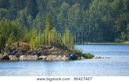 Ladoga Lake With Island Under Sunlight