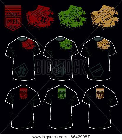 T shirt perk version video games, zombies series vector